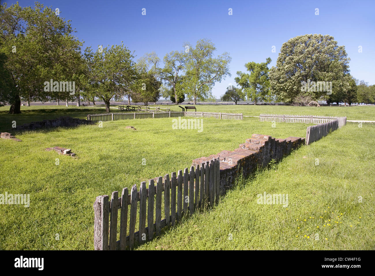 Early house foundations from New Towne site Jamestown Jamestown Island America's Birthplace Virginia built after Stock Photo