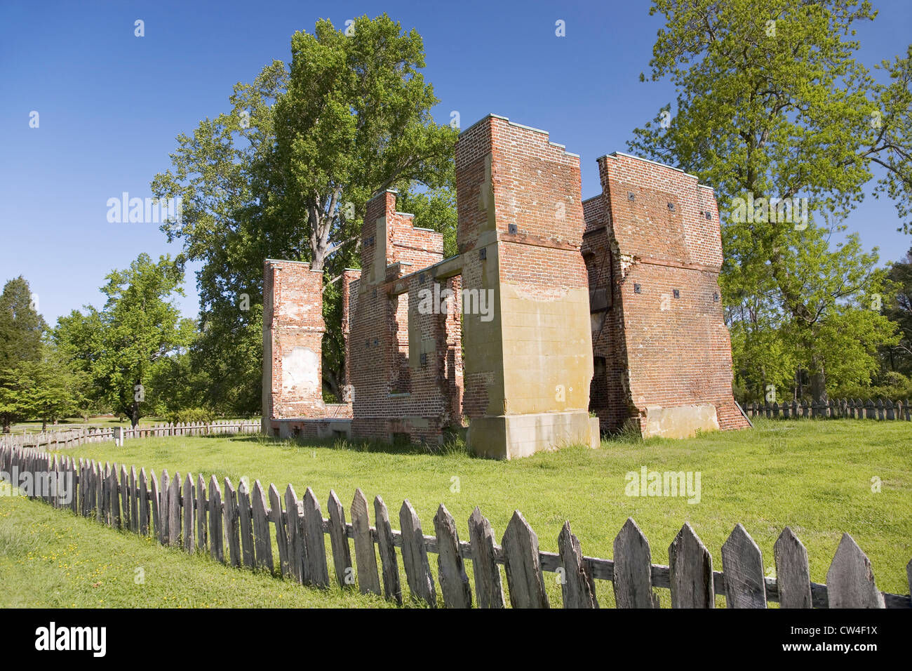 Early house foundations from New Towne site Jamestown Jamestown Island America's Birthplace Virginia built after 1620 very Stock Photo