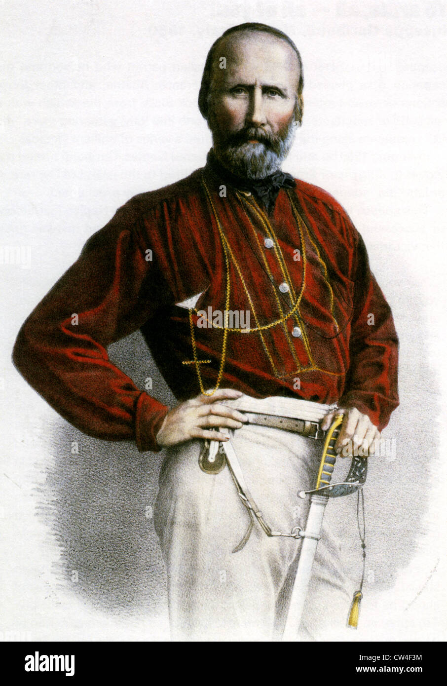 GIUSEPPE GARIBALDI (1807-1882) Italian general and politician. An 1861 engraving showing his signature red shirt - Stock Image