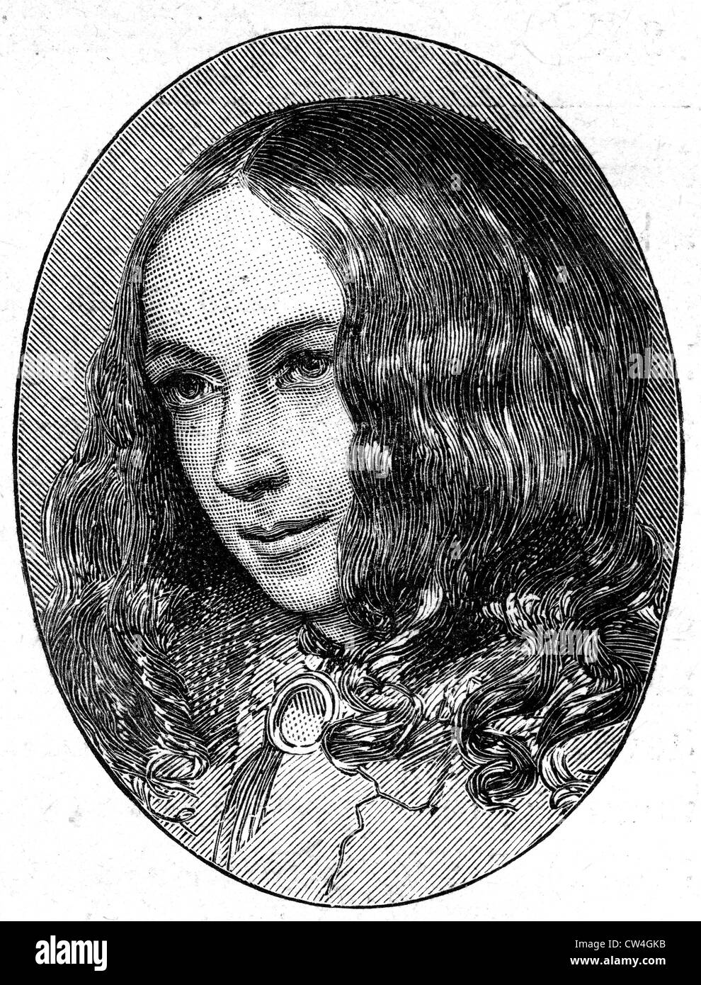ELIZABETH BARRETT BROWNING  (1806-1861) English poet and wife of Robert Browning - Stock Image