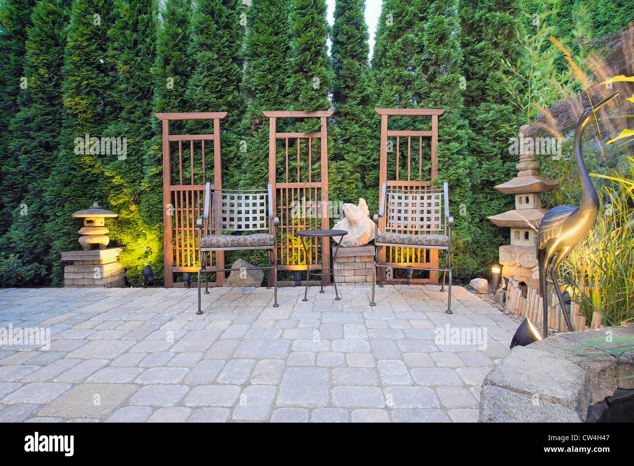 Garden Paver Patio With Trellis Japanese Stone Lantern Pagoda And Bronze  Crane Sculpture