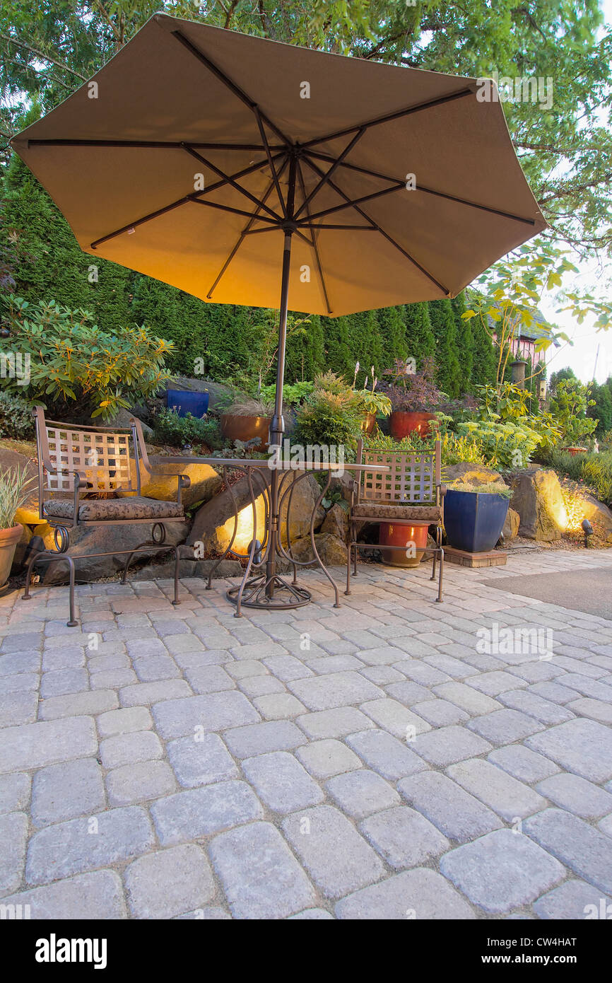 Peachy Garden Furniture Table Chairs And Umbrella On Pavers Patio Machost Co Dining Chair Design Ideas Machostcouk