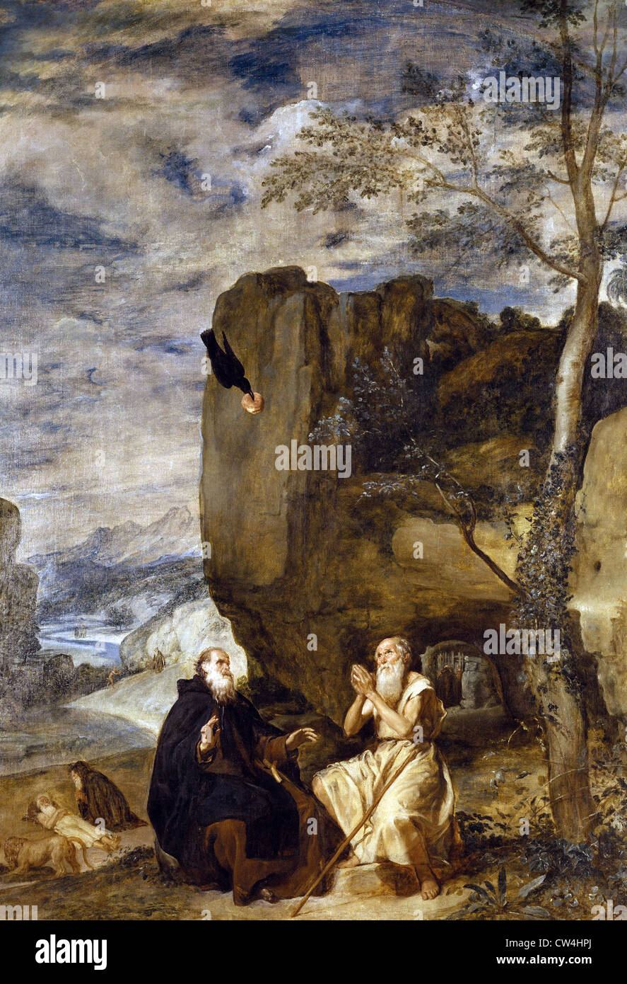 Diego Velazquez St. Anthony and St. Paul, first hermit 1634 Prado Museum - Madrid - Stock Image