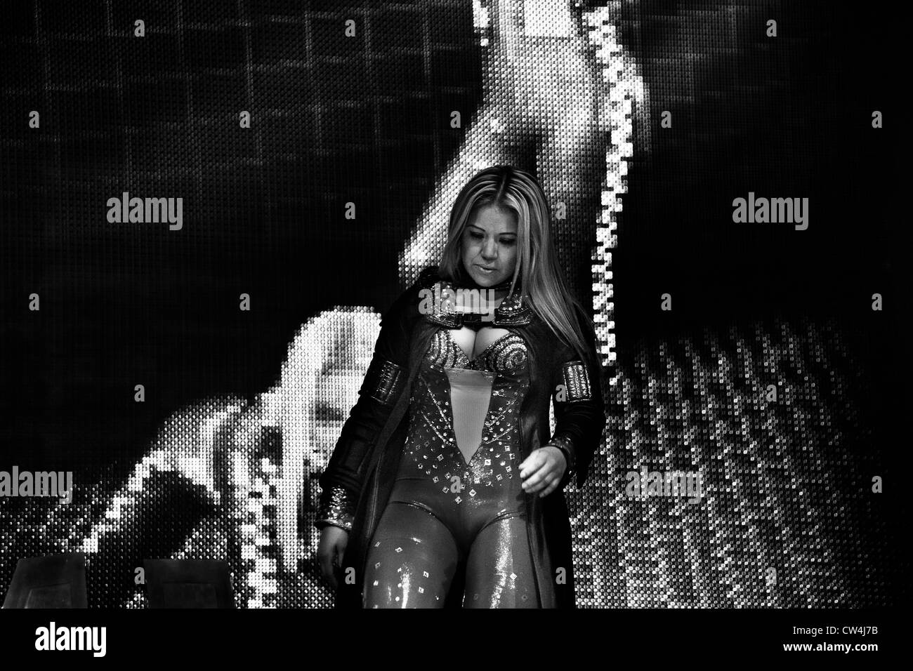 A female Lucha libre wrestler Tiffany walks out for her fight at Arena Mexico in Mexico City, Mexico. - Stock Image