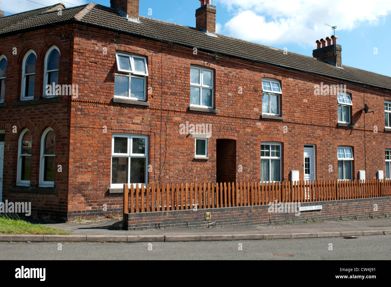 Terraced housing in Croft village, Leicestershire, UK - Stock Image