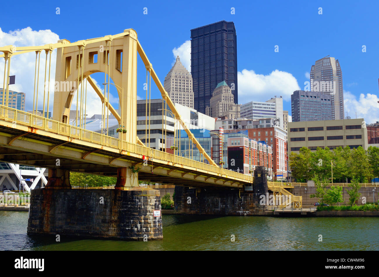 Skyscrapers in downtown at the waterfront of Pittsburgh, Pennsylvania, USA. - Stock Image