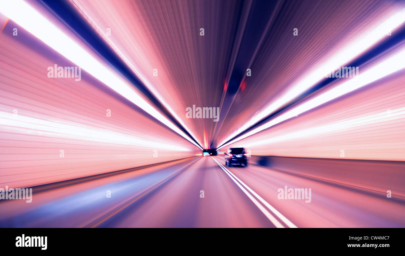 Motion in the Fort Pitt Tunnel in Pittsburgh, Pennsylvania, USA. - Stock Image