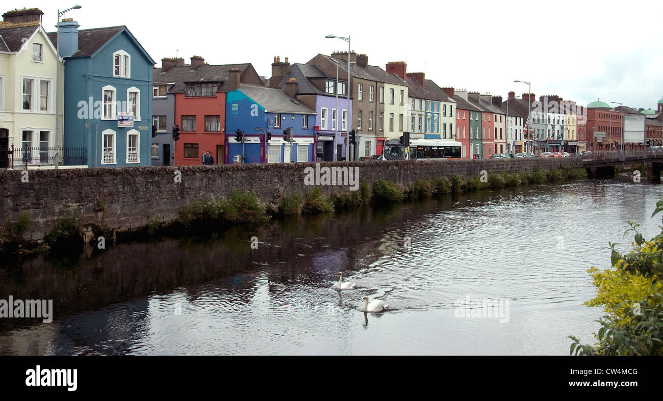 The River Lee, dominant feature in Cork city, Ireland - Stock Image