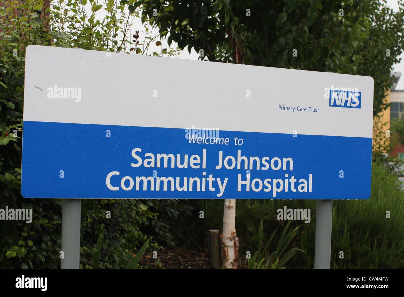Samuel Johnson Community Hospital signage, Lichfield ,Staffordshire - Stock Image