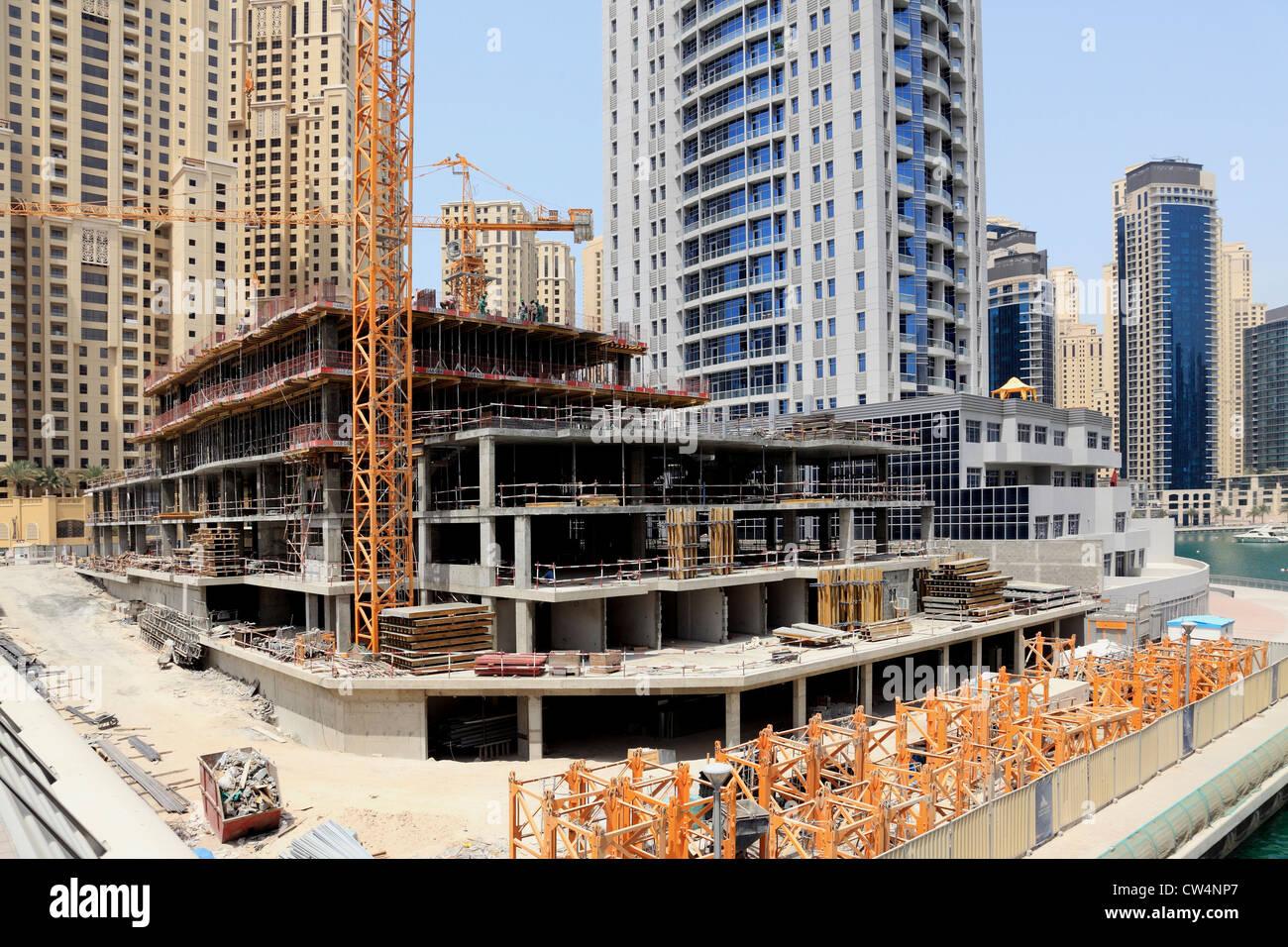 3607. Construction work, Dubai Marina, Dubai, UAE. Stock Photo