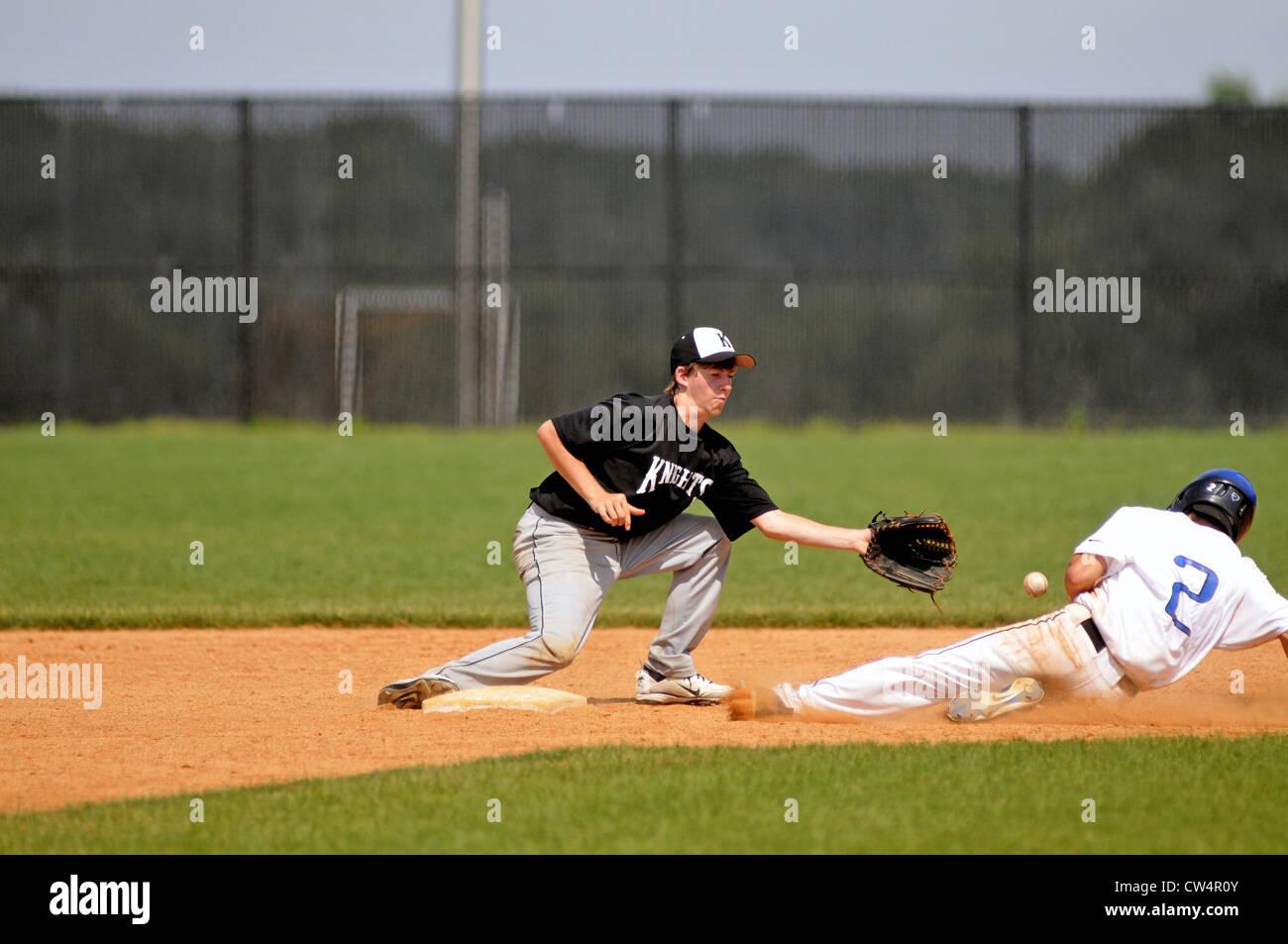 Baseball Infielder Fields Throw From His Catcher That Drifts Back