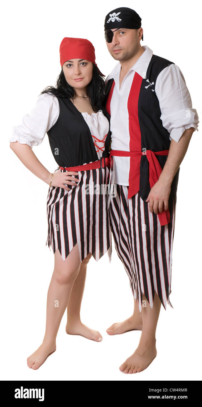 Man and woman in pirate costume. - Stock Image