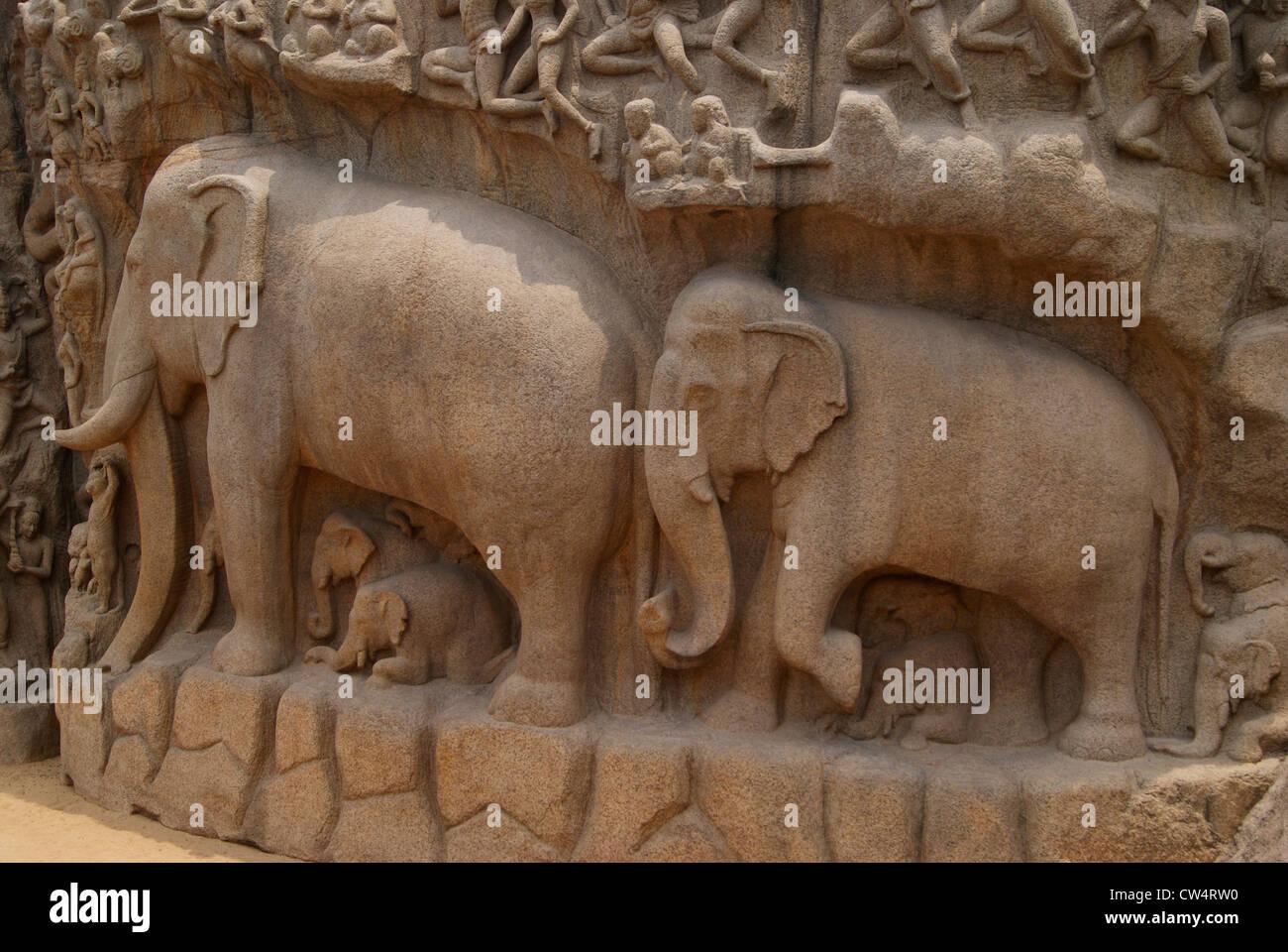 India elephants sculptures stock photos