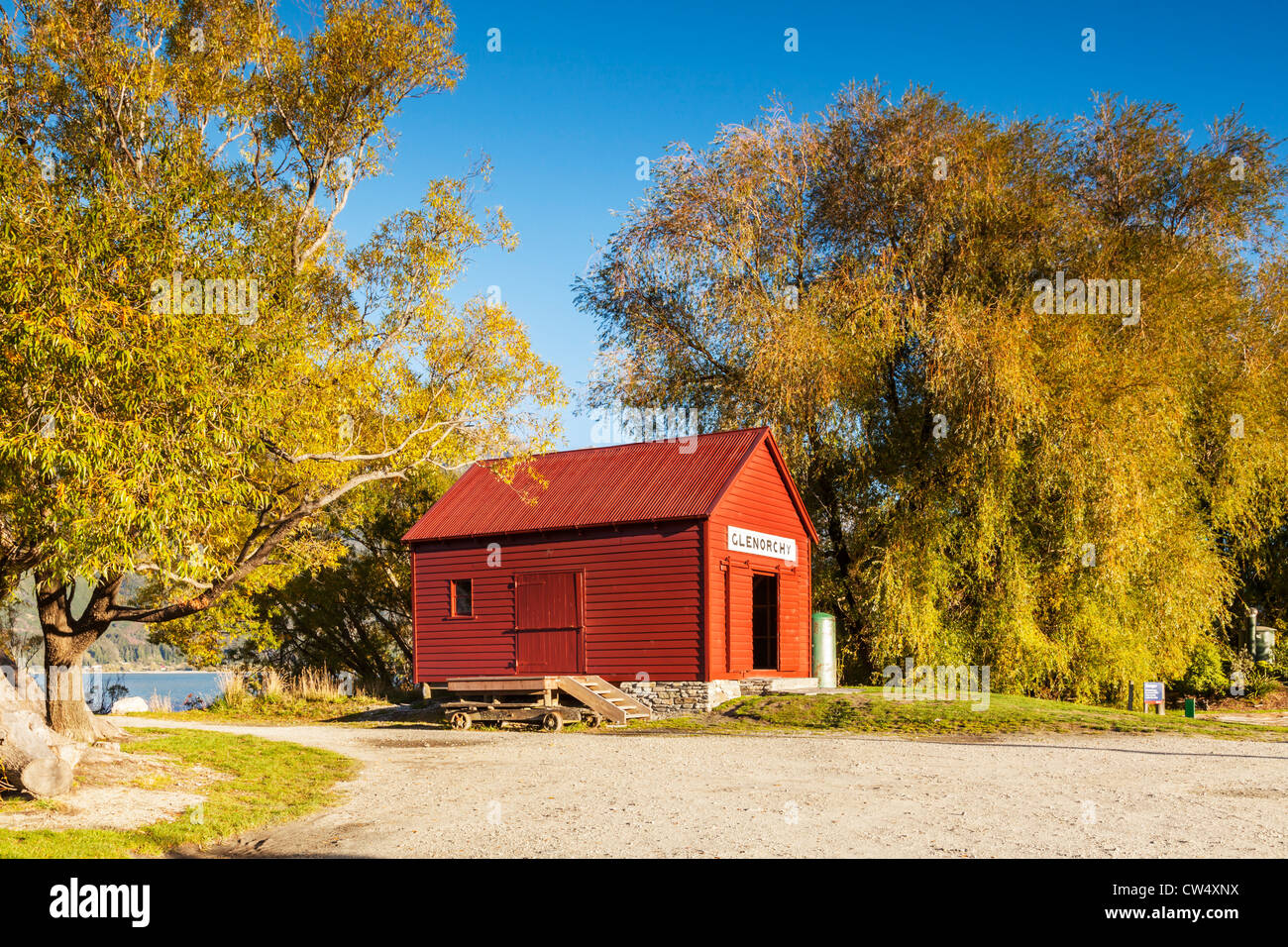 Wharf Shed Glenorchy New Zealand - Stock Image