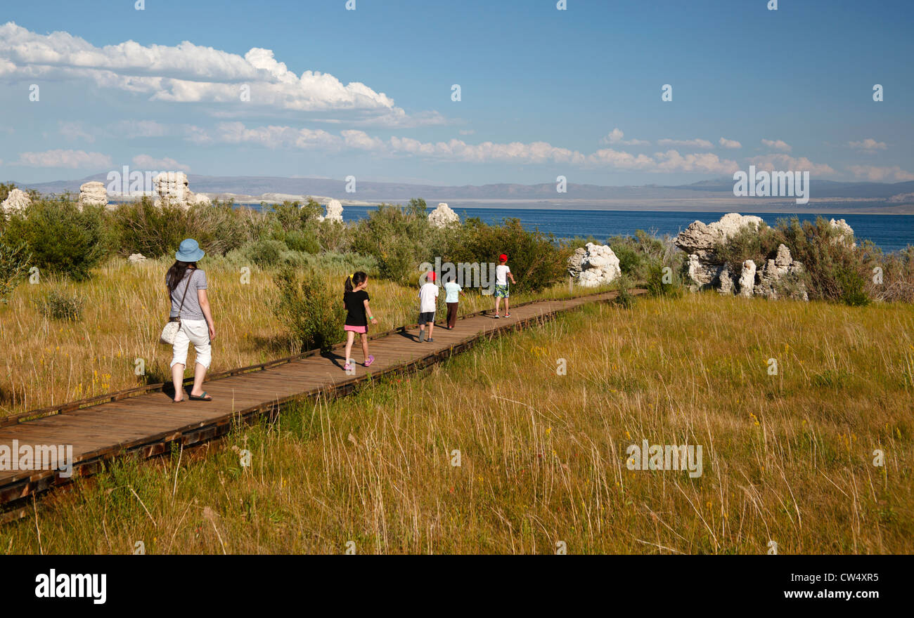 Family on the boardwalk interpretive trail leading to the north shore of Mono Lake in the Eastern Sierra Nevada - Stock Image