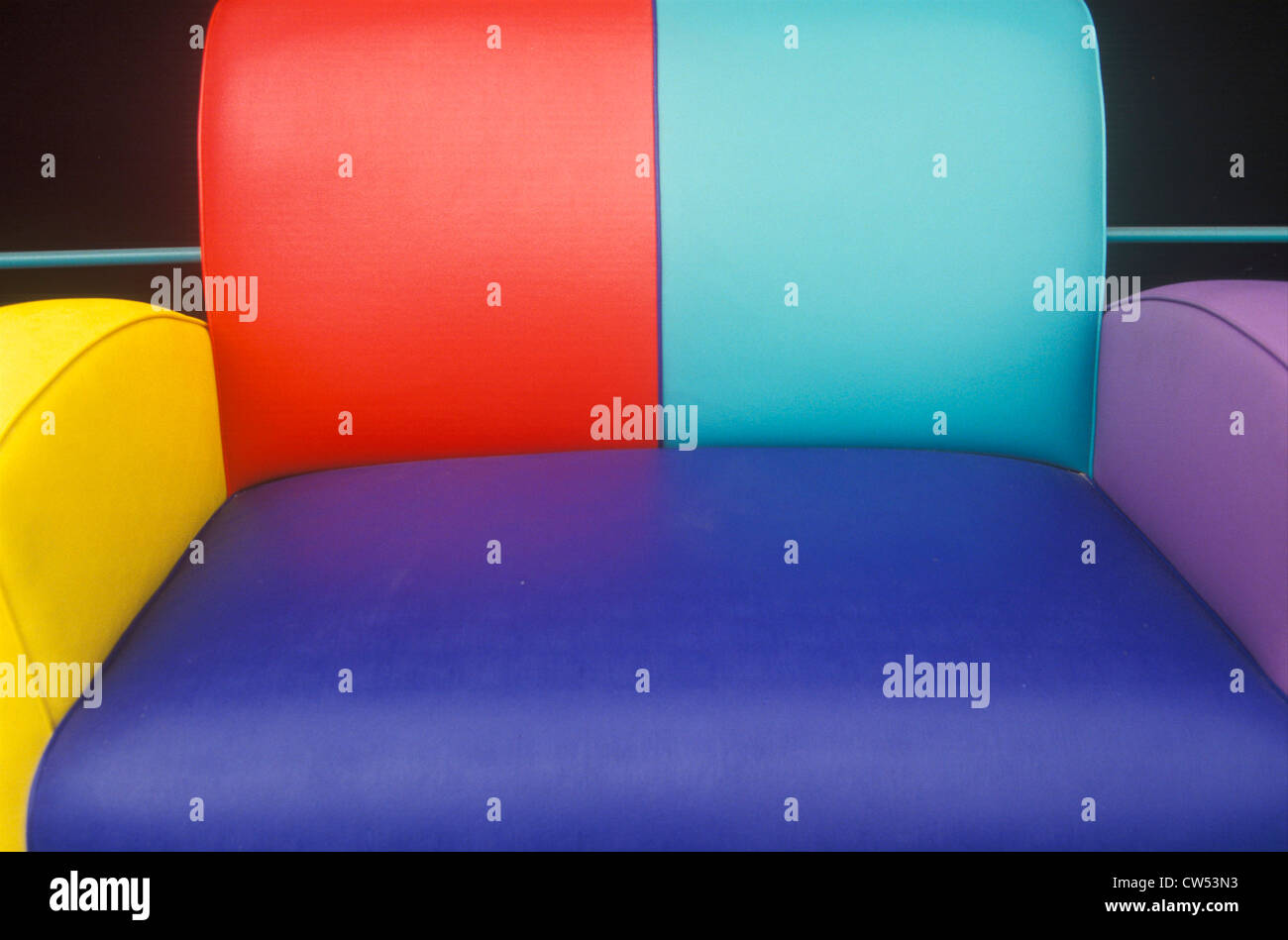 Multi colored leather sofa, Los Angeles, CA Stock Photo: 49899839 ...