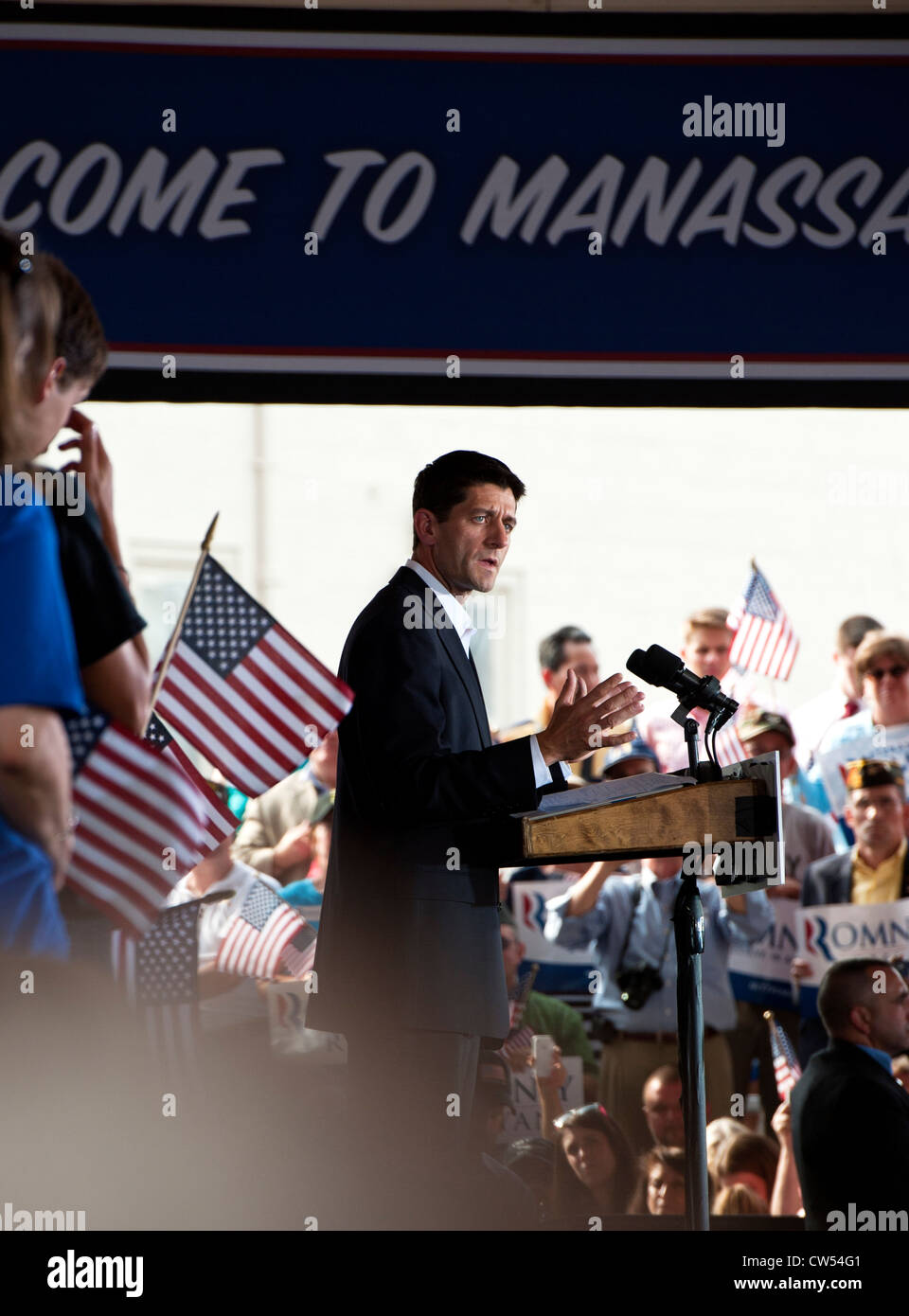 Vice Presidential candidate Paul Ryan Speaking to a large enthusiastic crowd of Mitt Romney Supporters at a rally - Stock Image