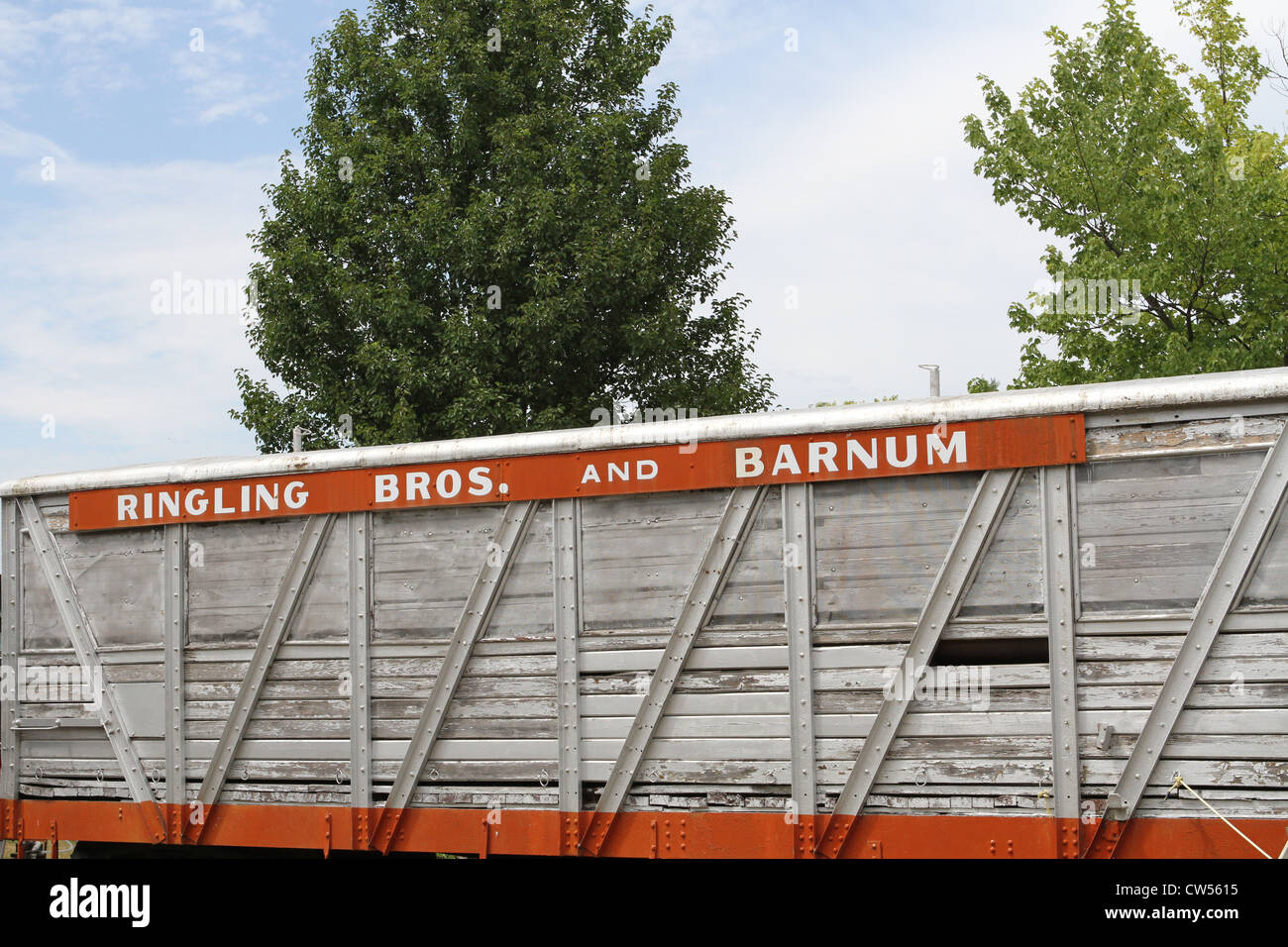An old circus train car at the Circus World Museum. - Stock Image