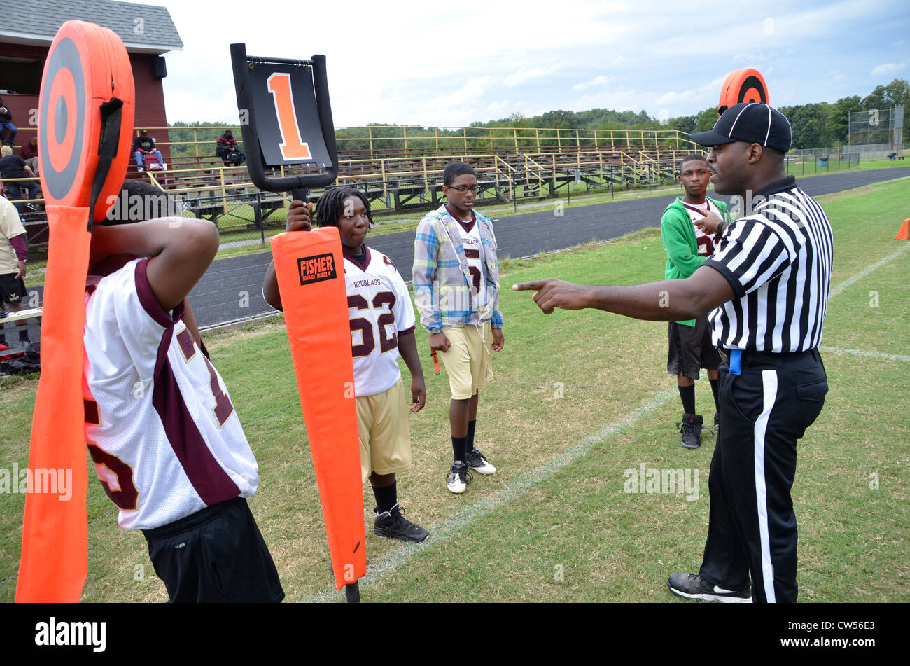 Referee gives instruction to the line people in Croom, Md - Stock Image