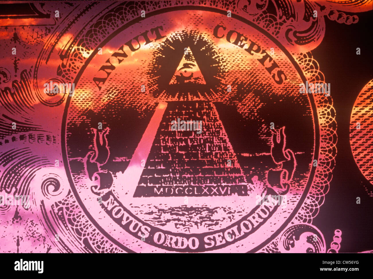 Obverse (reverse) side of National Seal of the United States, a pyramid with all seeing eye of providence - Novus - Stock Image