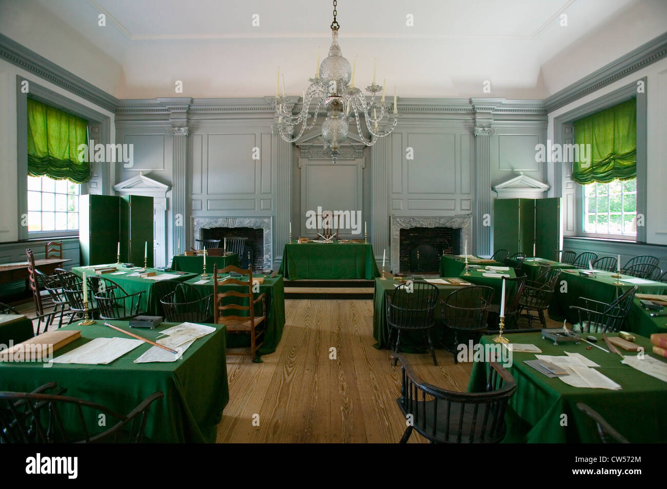 The Assembly Room where Declaration Independence and U.S. Constitution were signed in Independence Hall Philadelphia - Stock Image