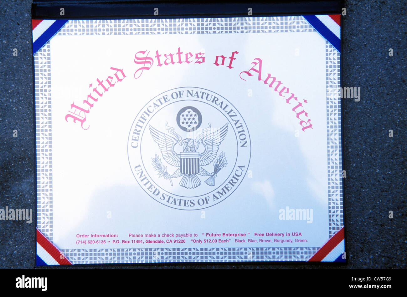 Certificate of Naturalization - Stock Image
