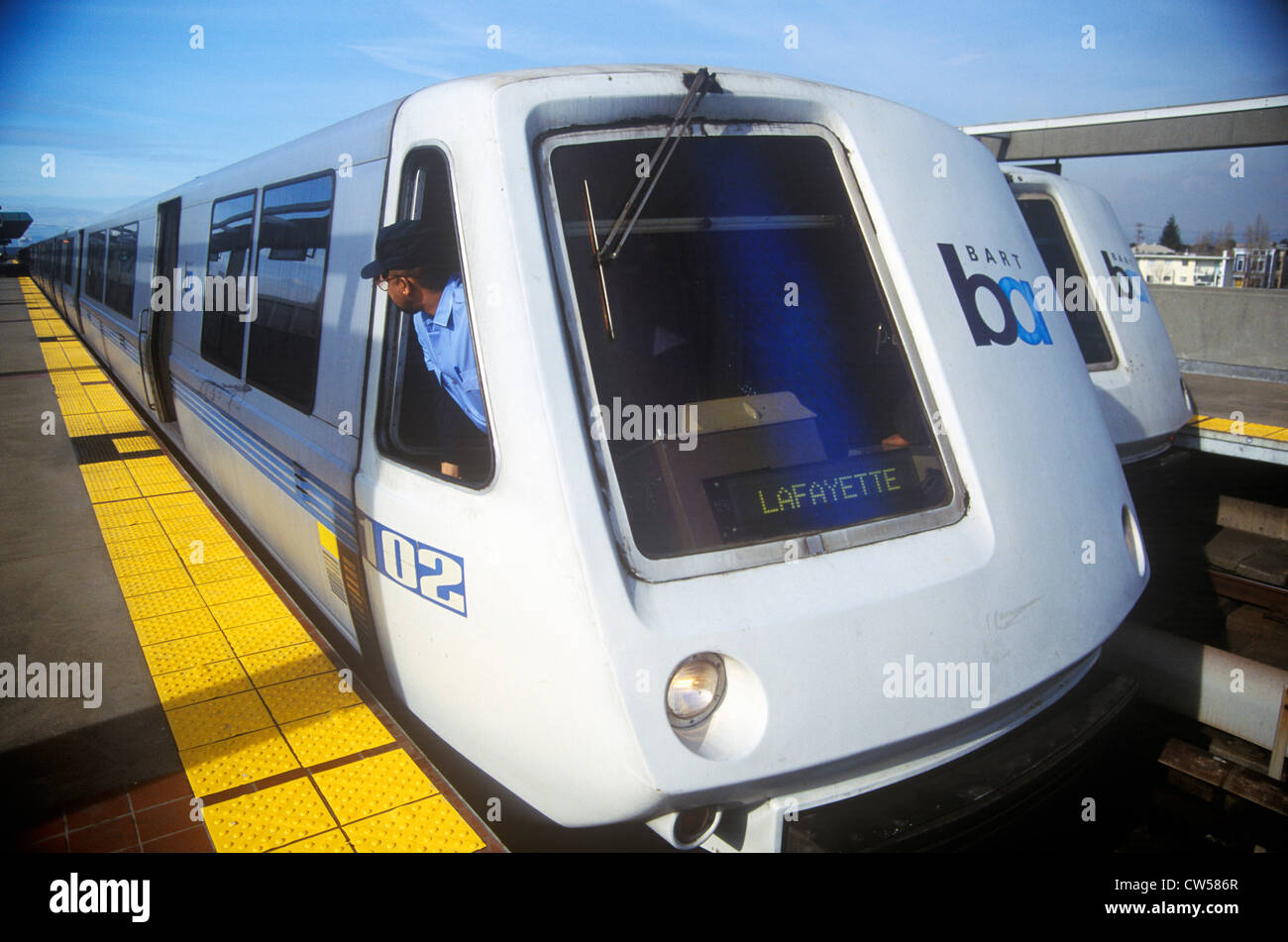 The San Francisco Bay Area Rapid Transit train, commonly referred to as BART, carries commuters to its next destination - Stock Image