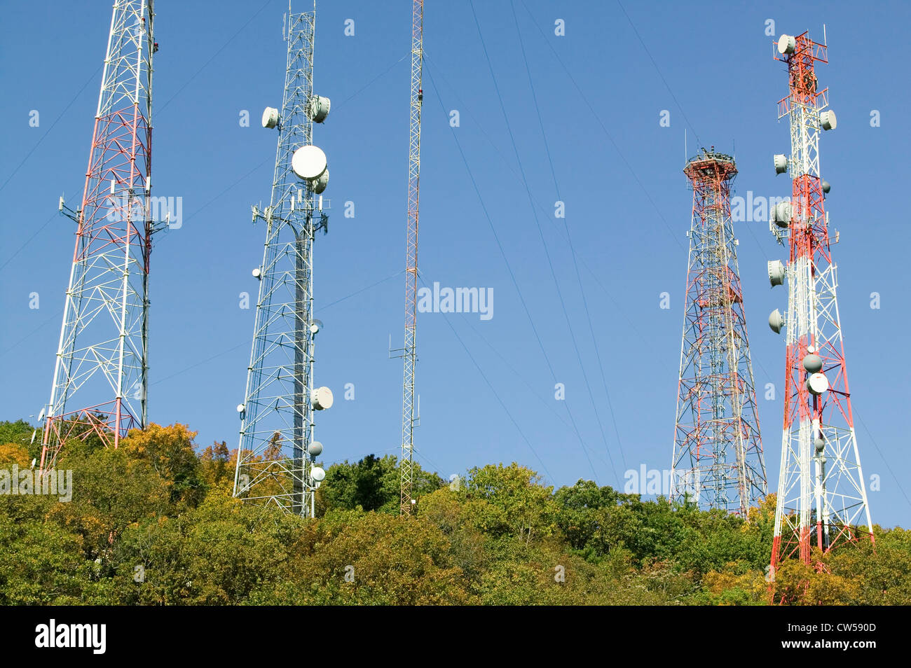 Cell phone towers line highway 95 North of Richmond Virginia Stock