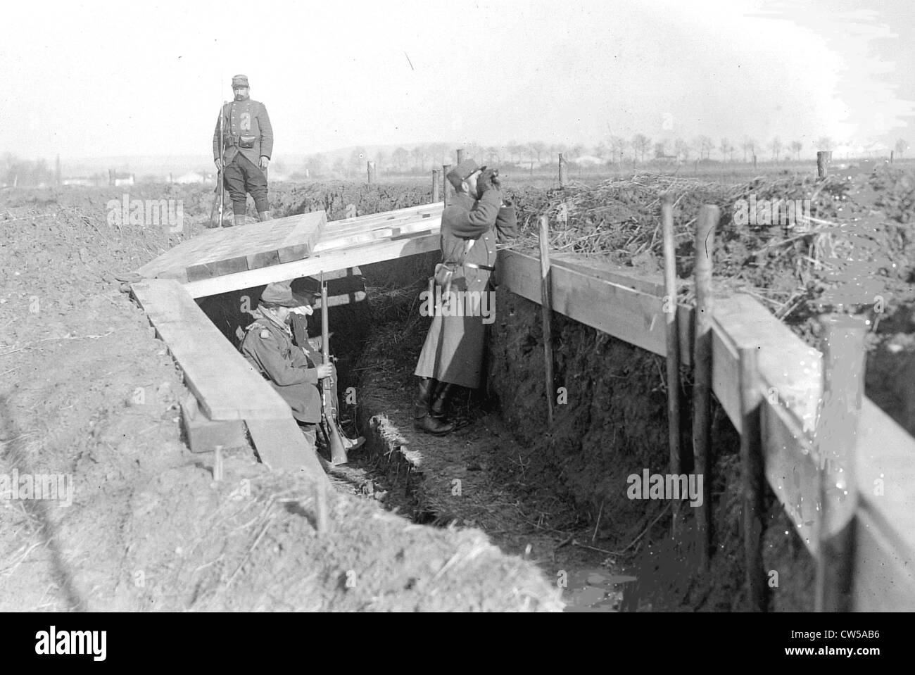 A visit to the east, an officer in the trenches - Stock Image