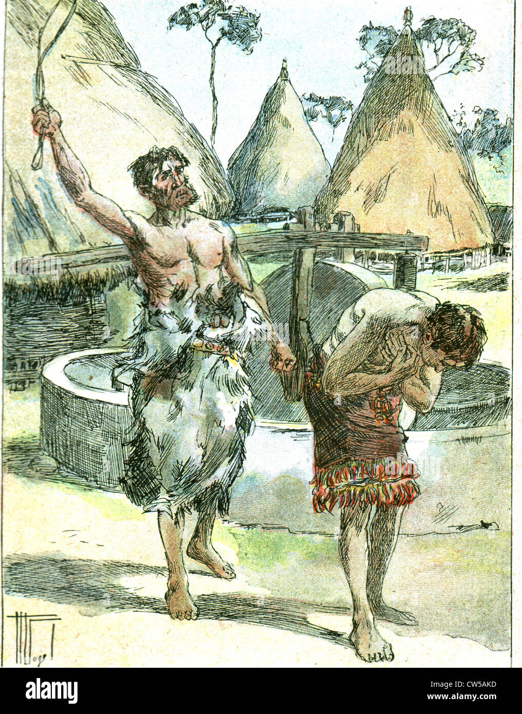 Illustration of the tale 'The Men of the Stone Age : 'the captive' by Jérôme Doucet in 'Mon - Stock Image