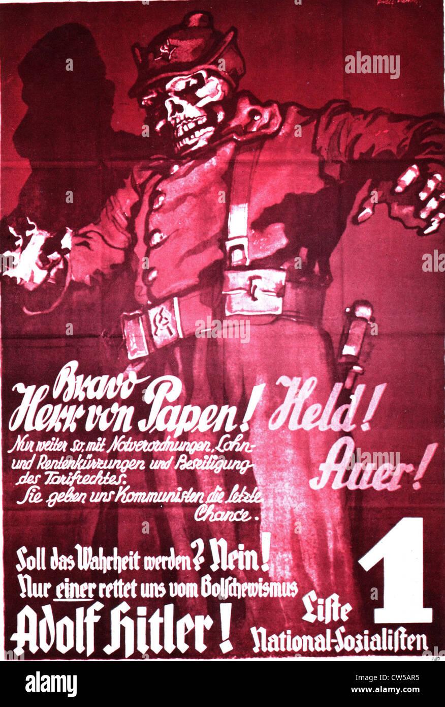 Nazi Party electoral propaganda poster - Stock Image