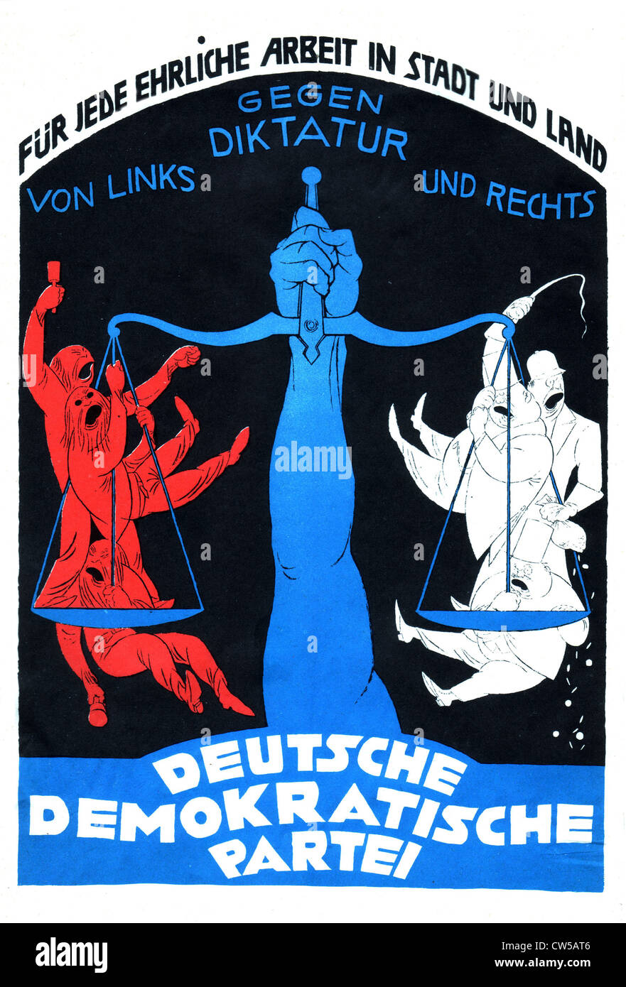 Propaganda poster of the German Democratic Party - Stock Image