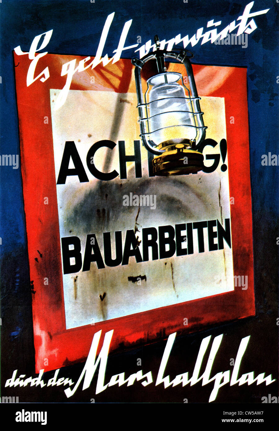 Propaganda poster for the Marshall Plan Stock Photo