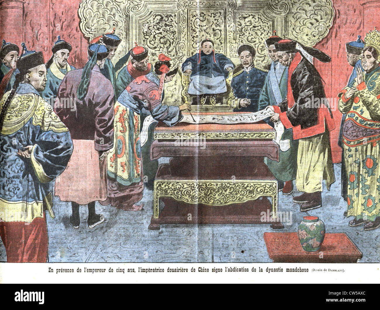 proclamation Republic China dowager empress in presence 5-year-old emperor sign abdication Manchu Dynasty. / in - Stock Image