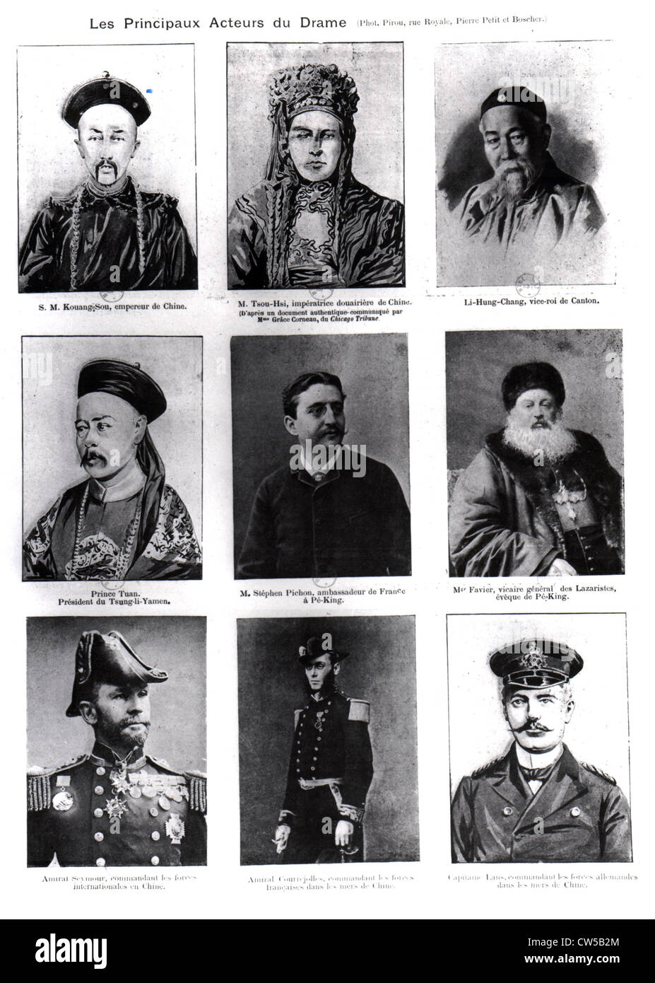 China - Boxer Rebellion: The main players of the drama in 'L'Illustration' - Stock Image