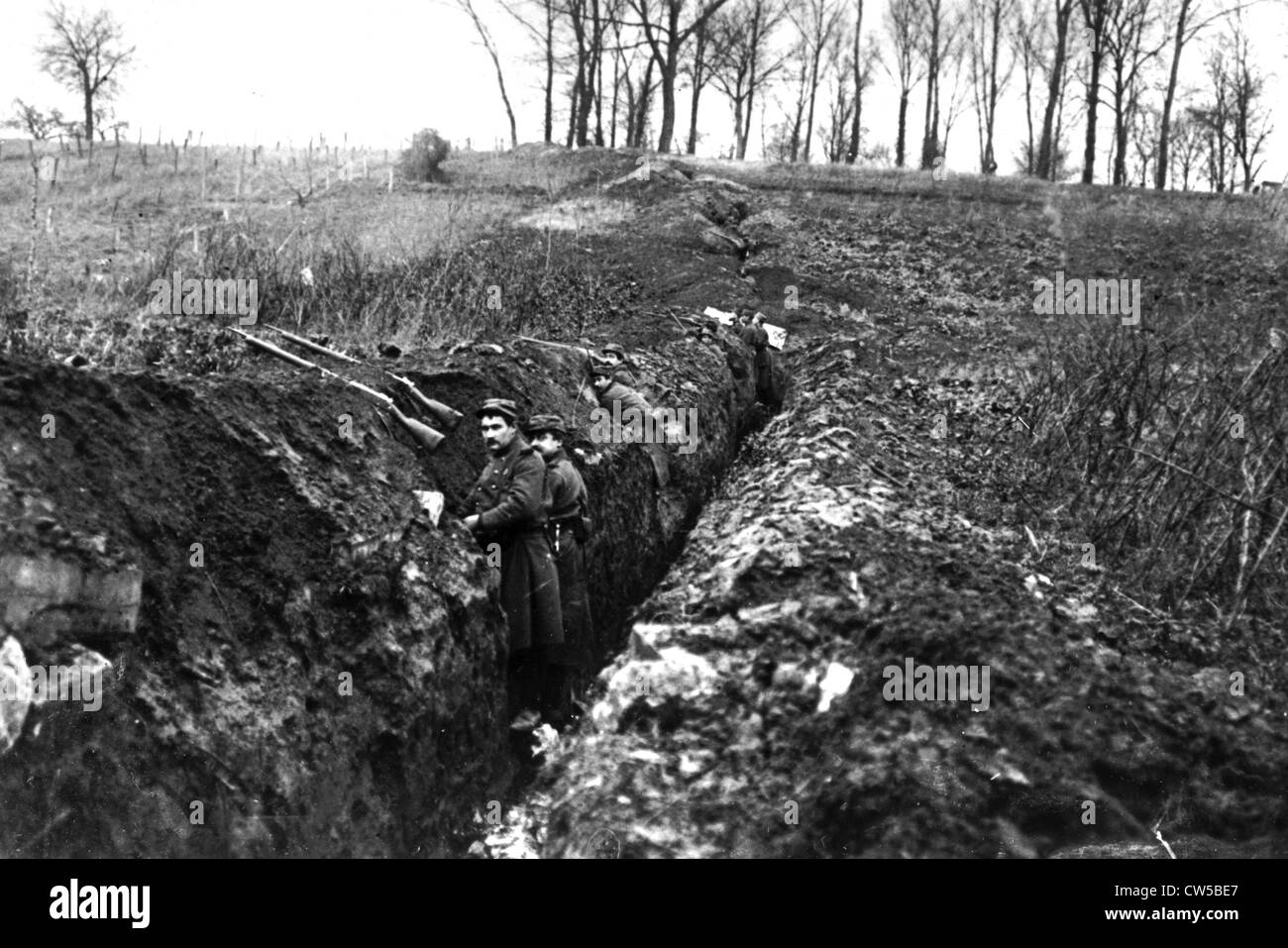 Trenches of the 1st line near Soissons - Stock Image