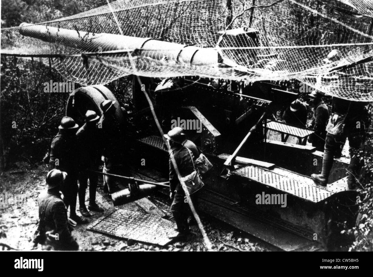 France, French front, French heavy artillery piece in action - Stock Image