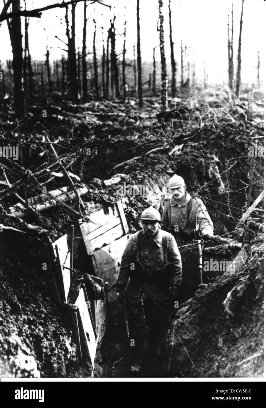 Two soldiers the trenches, Le Four de Paris area, Argonne - Stock Image