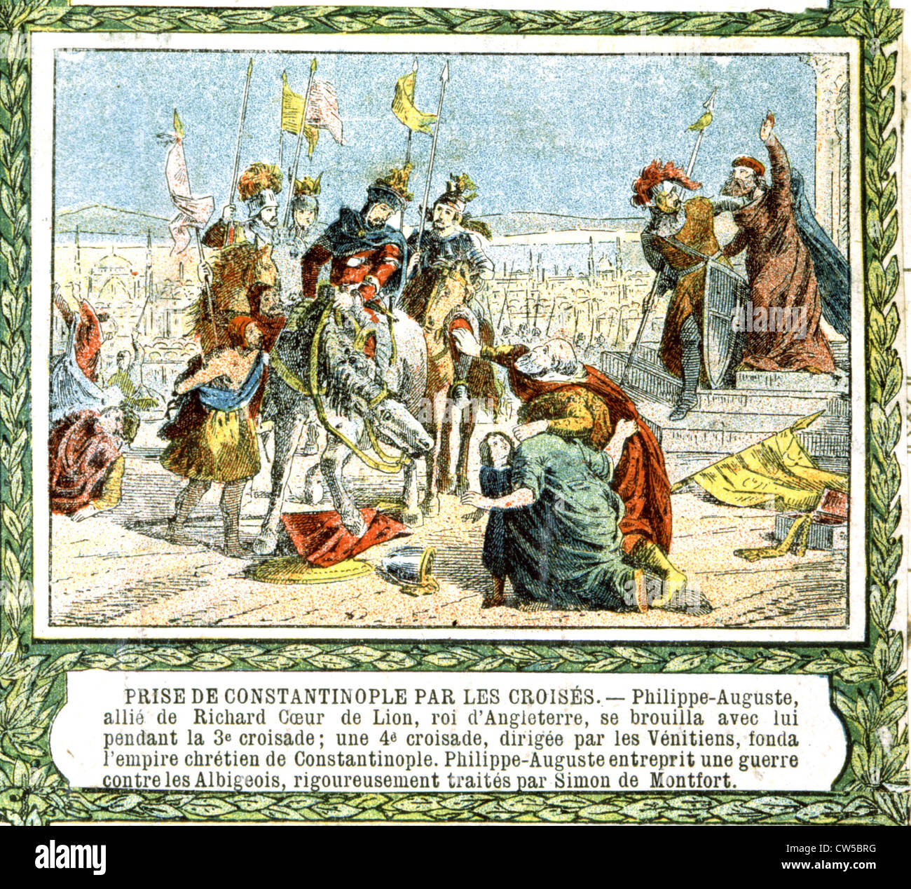 Third Crusade: Constantinople captured by the Crusaders - Stock Image