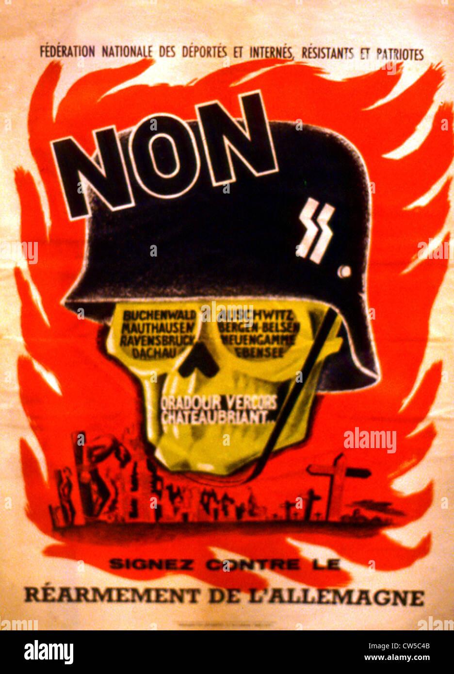 Tillard, Propaganda poster against the rearmament of Germany - Stock Image