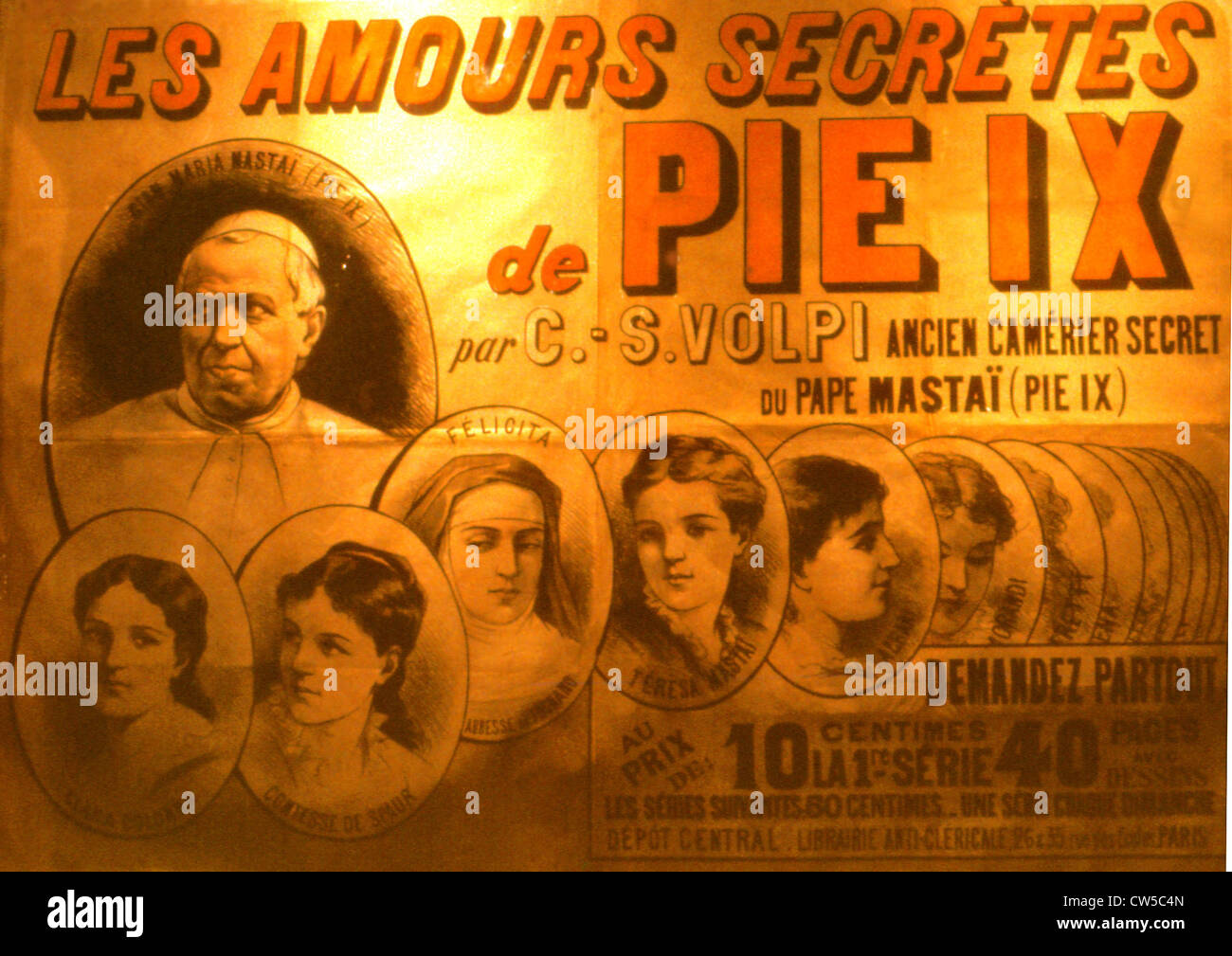 Poster printed by the Anticlerical Bookshop: 'The Secret Loves of Pope Pius IX' - Stock Image