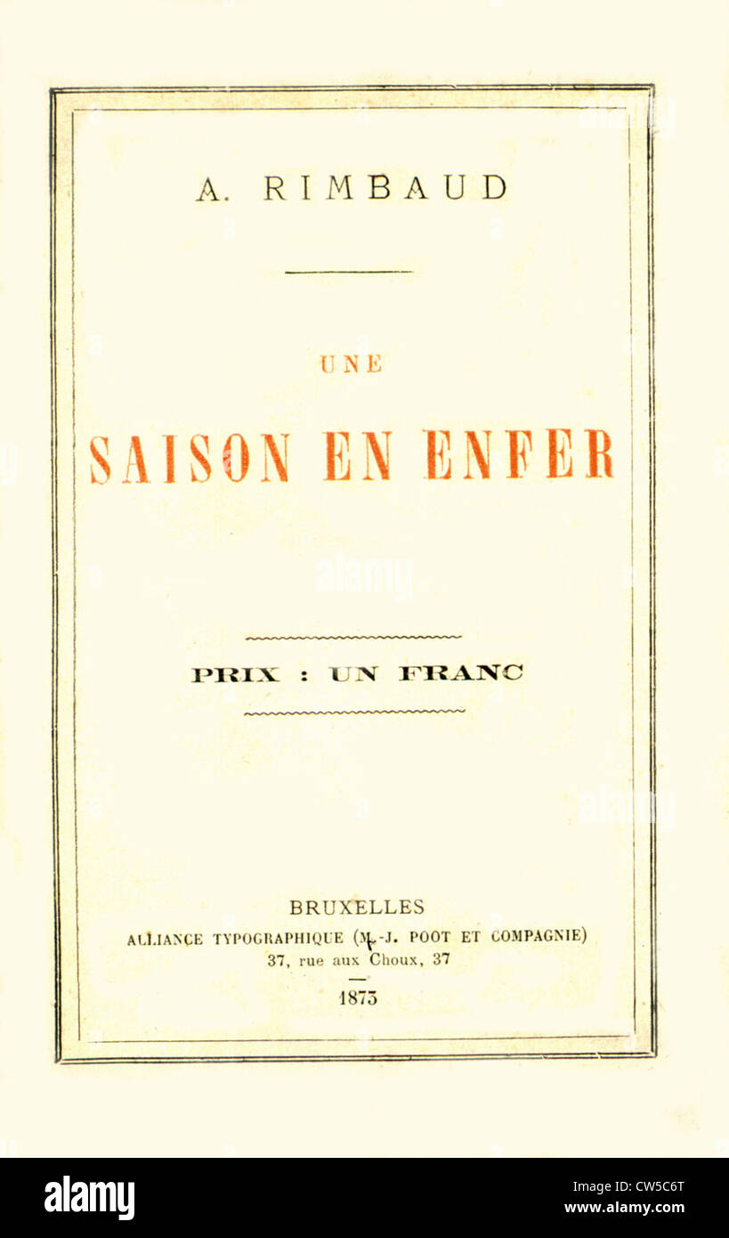 Cover Of Une Saison En Enfer By Arthur Rimbaud Stock Photo