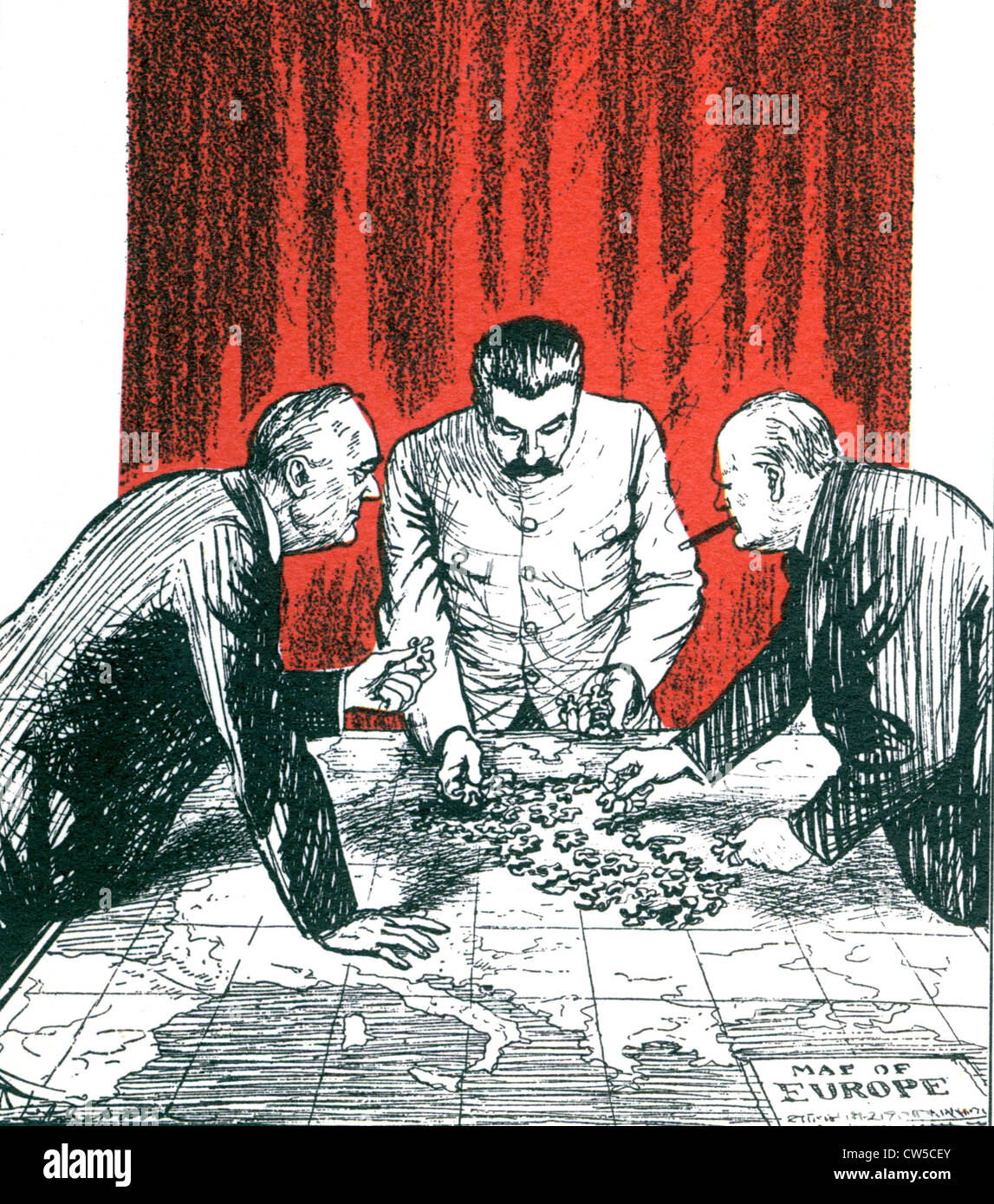 Shepard, caricature: 'The European hotch-potch' (Stalin, Roosevelt and Churchill, concerning the Yalta - Stock Image