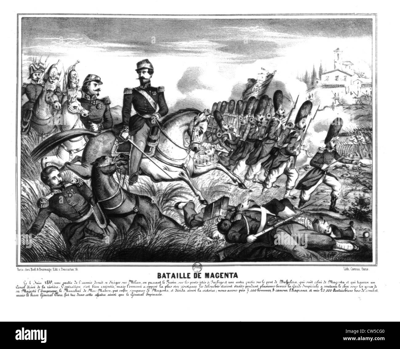 Italian Expedition, Battle of Magenta: Napoleon III and Mac Mahon - Stock Image