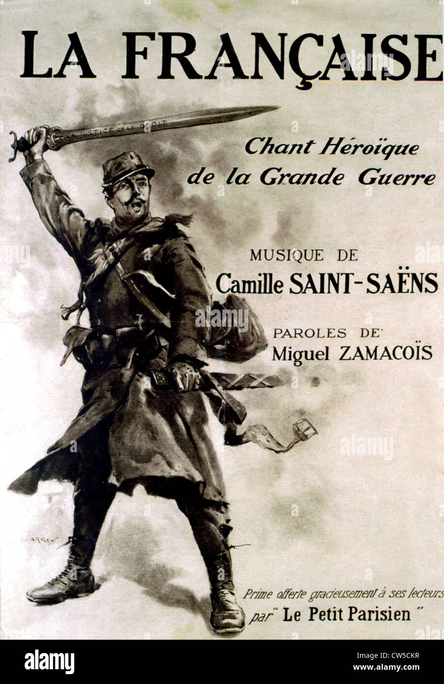La Française, heroic song of the World War I, Music by Camille Saint-Saëns (Picture: Pierre Pitrou) - Stock Image