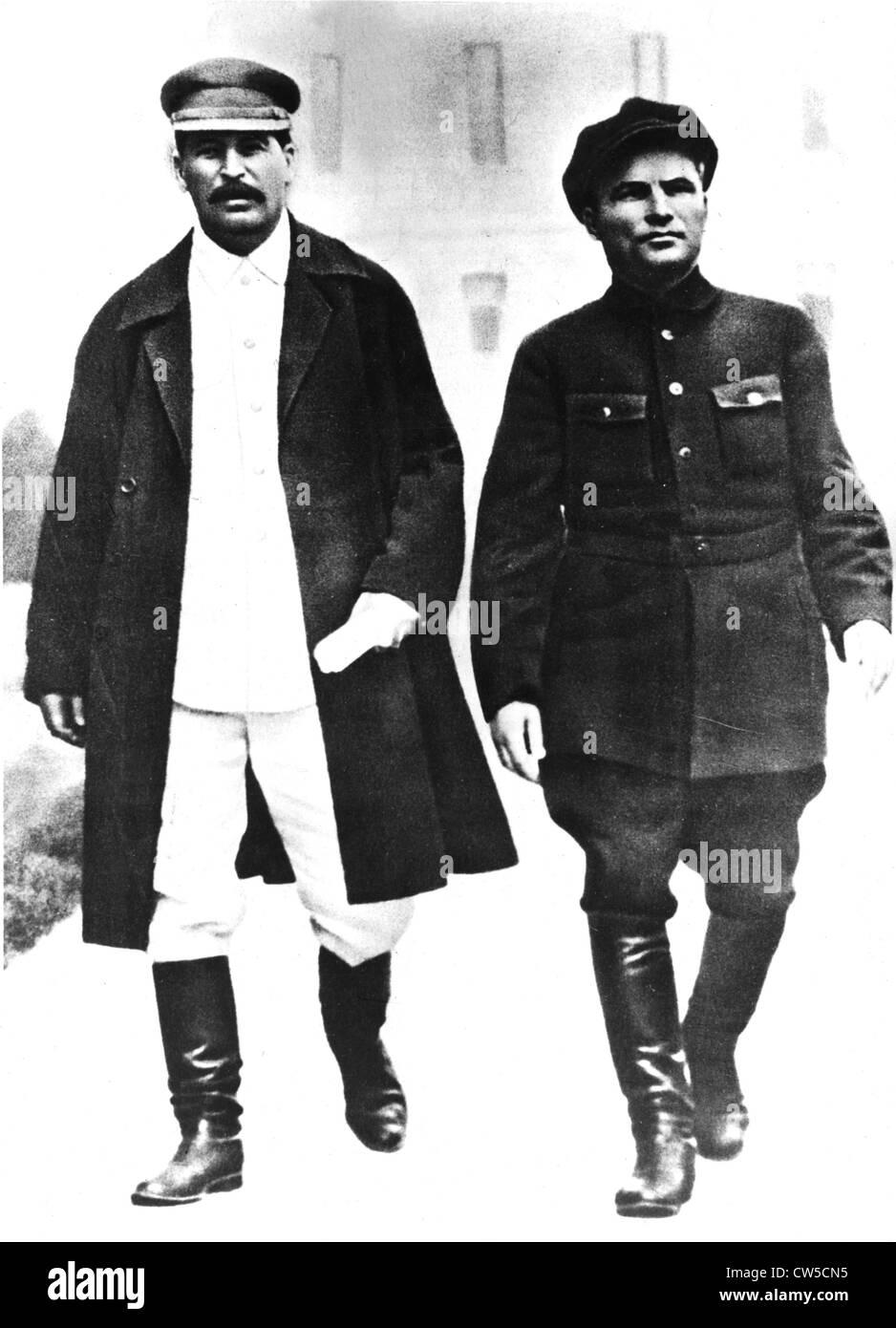 Joseph Stalin (1879-1953) and Sergueï Mironovitch know as Kirov (1896-1934) - Stock Image