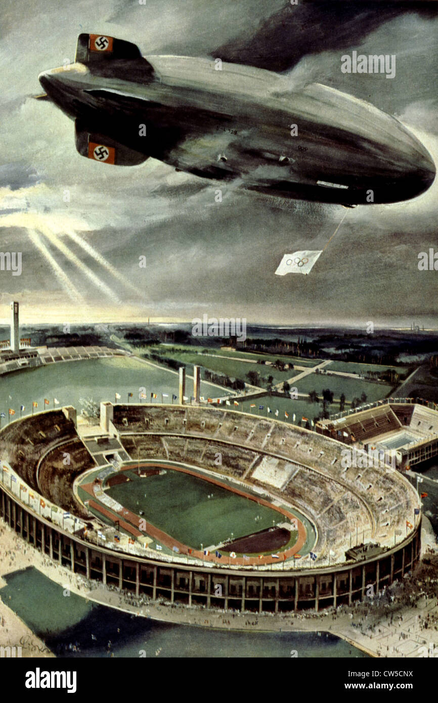 Berlin Olympic Games, Olympic stadium and airship 'Hindenburg', which was used to photograph and film the - Stock Image