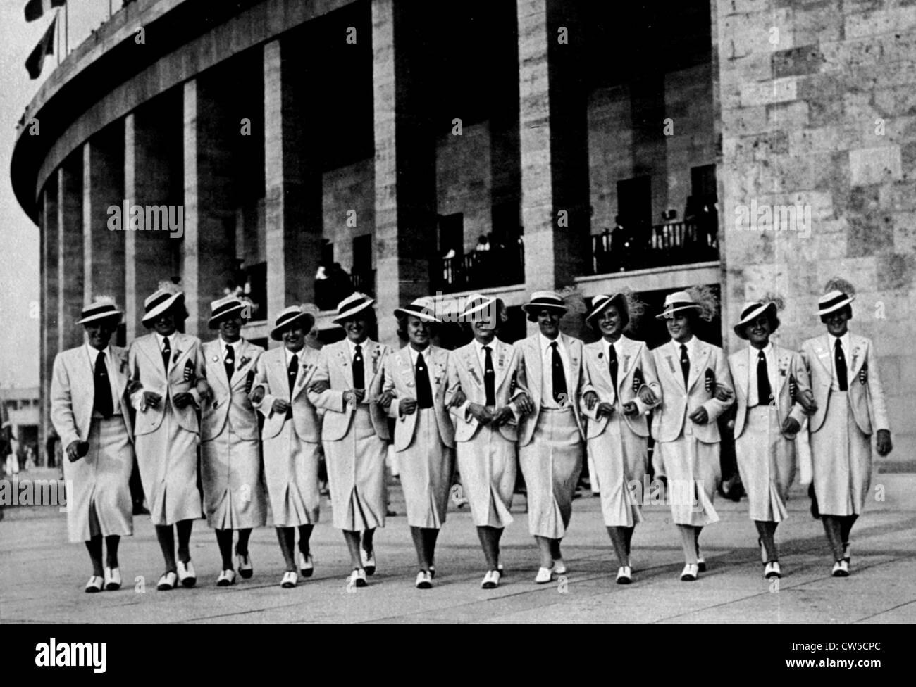 Berlin Olympic Games, young sportswomen - Stock Image