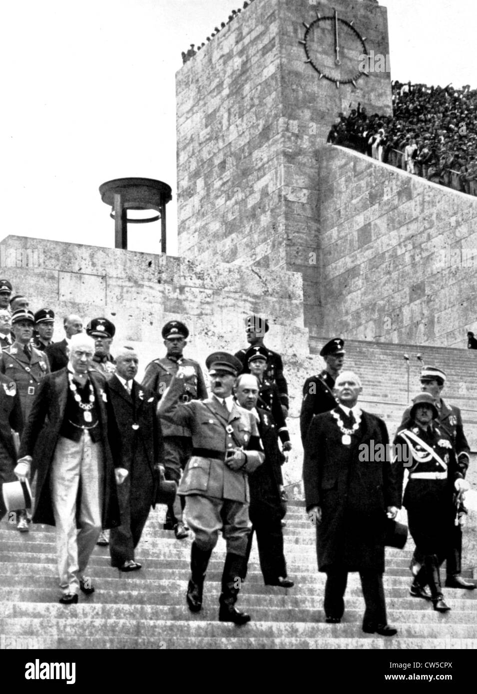 Berlin Olympic Games Chancelor Adolf Hitler is heading to stadium with high personalities Reich and Olympic authorities - Stock Image