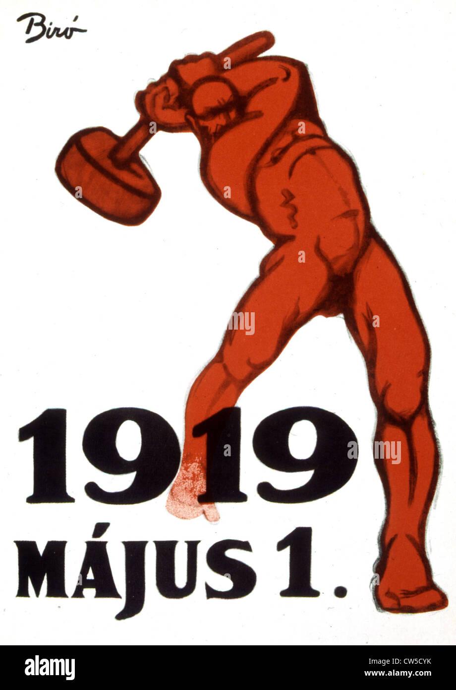 Propaganda poster by Mihaly BIRO (1886-1948), 1919 Hungarian revolution - Stock Image